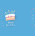 sweet colored birthday cake painting with candles vector image