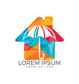 umbrella house logo home insurance sign icon vector image