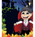 Young vampire near the castle vector image vector image
