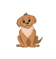brown puppy in cartoon style vector image