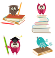 cute bird learning vector image