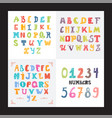 collection of three funny alphabets and set of vector image