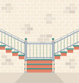 Interior Bricks Wall With Stairs vector image