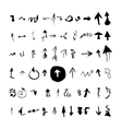 Arrows set hand drawn with ink in brush vector image