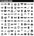 100 carnival icon set simple style vector image