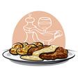 baked pork vector image vector image