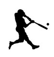 baseball black silhouette pitcher hitting ball vector image