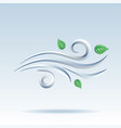 blowing wind with flying leaves icon vector image vector image