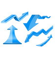 blue arrows 3d shiny set of icons vector image vector image