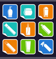 bottles of cosmetic products on stickers vector image vector image