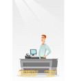 cashier standing at the checkout in a supermarket vector image vector image