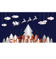 christmas card papercut pine tree santa deer sled vector image
