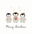 christmas cute penguin greeting card vector image vector image