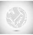 Circuit board globe emblem vector image
