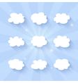 Cloud icon set on a blue vector image