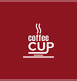 coffee cup design logo coffee on red vector image vector image