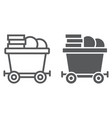 coins on mine trolley line and glyph icon finance vector image