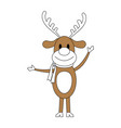 color silhouette image cartoon full body reindeer vector image