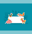 cute animals holding empty banner pig duck fox vector image vector image