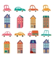 Cute city collection with houses and cars vector image