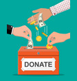 donation box with money vector image vector image