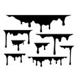 dripping liquid drips black paint silhouette vector image