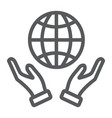 earth in hands line icon ecology and globe vector image