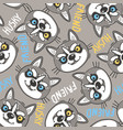 fashionable seamless pattern with dogs husky noses vector image vector image