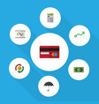 flat icon finance set of interchange parasol vector image vector image