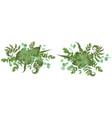 floral bouquet design set green forest fern vector image vector image