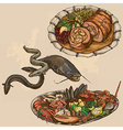 Food around the World hand drawn and colored vector image