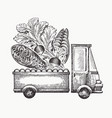 food shop delivery logo template hand drawn truck vector image