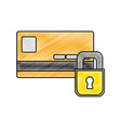 grated finance credit card with padlock close vector image vector image