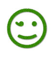 green grass face wink smile smiley grassy vector image