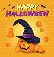 halloween card with pumpkin hat and text vector image