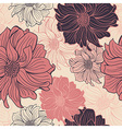 hand-drawn flowers dahlia seamless background vector image