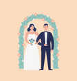 happy cute newlywed couple standing against floral vector image
