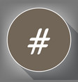 hashtag sign white icon on vector image vector image