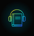 headphones with book colorful icon vector image vector image