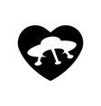 heart black icon love symbol ufo in heart vector image
