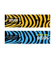 horizontal blue and orange banners with stripes on vector image vector image