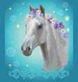 horse portrait with flowers8 vector image vector image