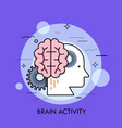 human head profile brain and gear wheels concept vector image