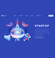 launching startups isometric landing page template vector image vector image