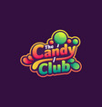 logo candy club simple mascot style vector image
