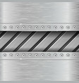 metal background with stripes and rivets vector image vector image