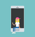 millennial girl sitting inside the smartphone and vector image vector image