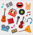 musical instruments and equipment sticker set on a vector image