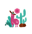 pink alpaca childish hand drawn vector image vector image