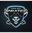 pirate skull emblem vector image vector image